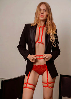 KARA RED DOUBLE STRAP HARNESS TOP - Innate Intimates