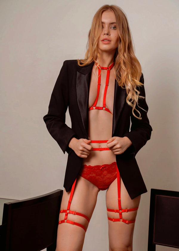 KARA RED DOUBLE STRAP HARNESS TOP