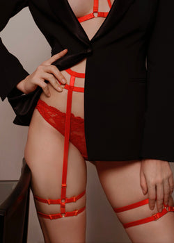 KARA RED DOUBLE STRAP SUSPENDER - Innate Intimates