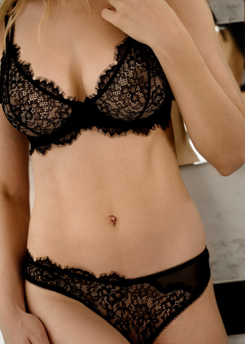 CANDACE BLACK SHEER LACE BRA - Innate Intimates