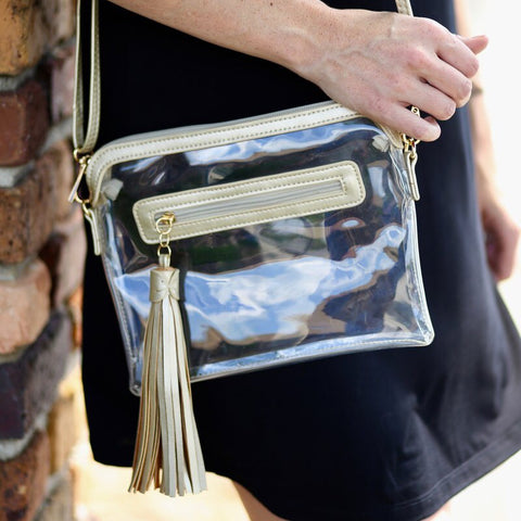 Collier Tasseled Clear Crossbody Bag