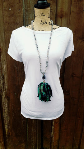 Olive Reclaimed Silk Necklace