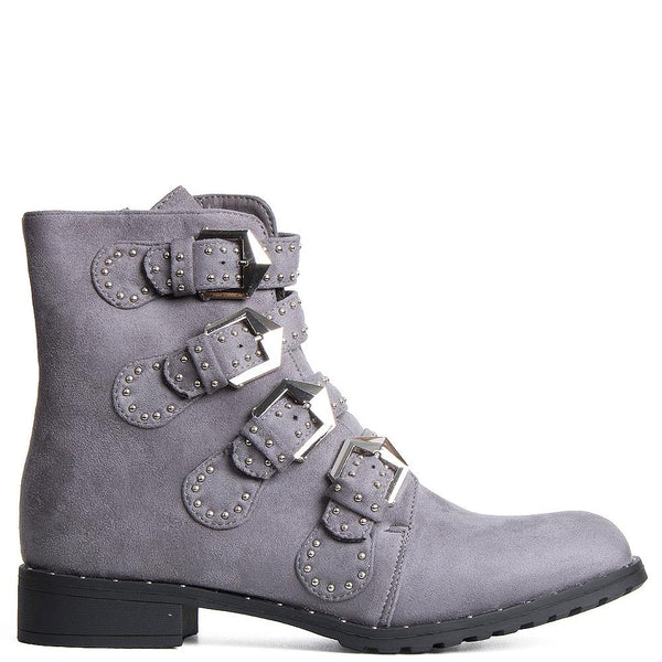 FRANCES GREY BIKER STUD ANKLE BOOTS