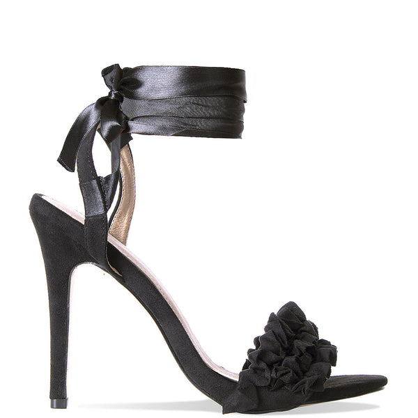 DEMI BLACK LACE UP SUEDE RUFFLE HEELS