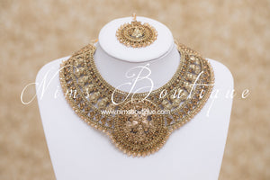 Madhubala Antique Gold & Gold Stone Bridal Set