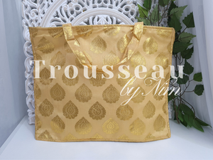 Large Gold Silk Brocade Bags with handles
