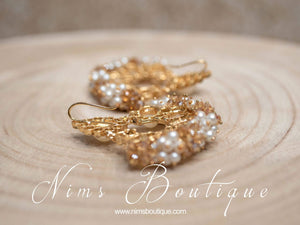 Zoya Pearl & Gold Cluster Earrings