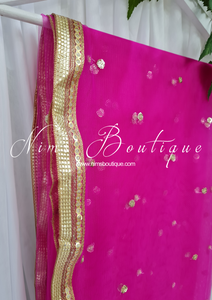 Hot Pink Net Sequin Dupatta/Chunni