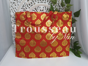 Large Red Silk Brocade Bags with handles