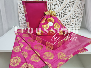 Hot Pink Brocade Silk Jewellery Gift Box