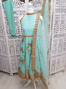 Mint Halterneck Sparkle Anarkali Suit (various sizes)