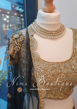 Black Net Pearl Embellished Dupatta/Chunni with Luxury Pearl Edging