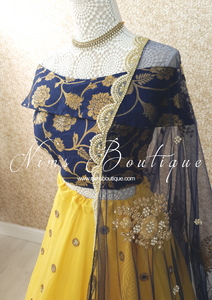 Navy Net Pearl Embellished Dupatta/Chunni with Luxury Pearl Edging