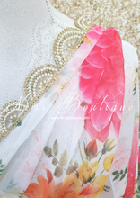 Floral Print Dupatta/Chunni with luxury Pearl edging