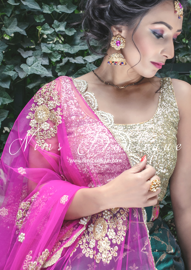 Hot Pink Net Pearl Embellished Dupatta/Chunni with Luxury Pearl Edging