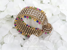 Gold & Multicolour Royal Bracelet with hanging chumka