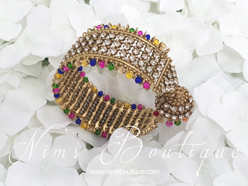 Gold & Multicolour Royal Bracelet with hanging chumka (1)