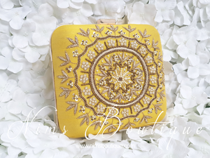Large Yellow Raw Silk Pearl Embellished Clutch Bag