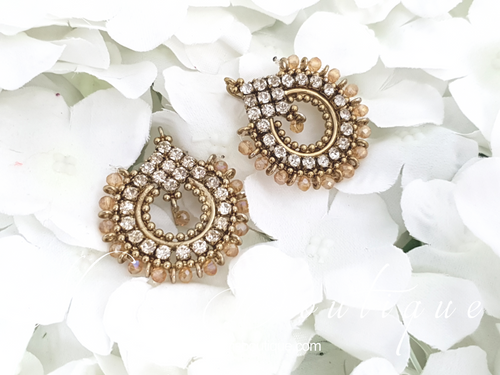 Vidya Gold & Clear Stone Earrings