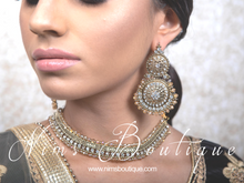 Royal Gold Tikka & Earrings Set with clear stone