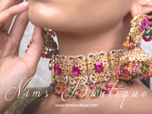 Multicolour Maharani Choker Set with Chumke (with Saharas)