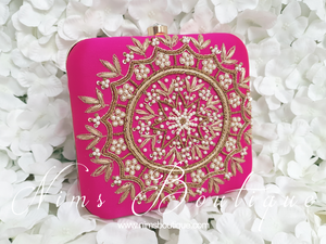 Large Pink Raw Silk Pearl Embellished Clutch Bag