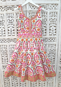 Luxury White & Multicolour Threadwork Anarkali Pajami Suit