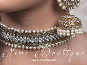Celina Pearl & Antique Gold Choker with Clear Stone