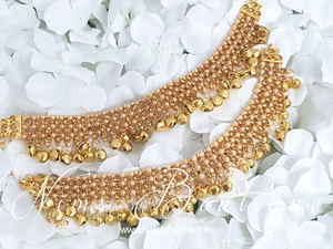 Gold & Pearl Payals / Anklets / Chanjara with Bells