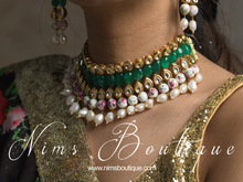 Pavan Green Kundan Choker Set with violet floral beads