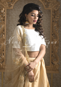 Gold Net Pearl Embellished Dupatta/Chunni with Luxury Pearl Edging