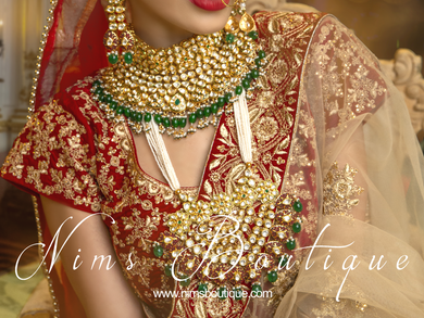 Luxury Green Kundan Statement necklace & earrings