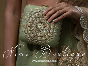 Large Pistachio Raw Silk Pearl Embellished Clutch Bag