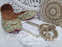 Luxury Mint Embellished Leather Punjabi Juttis
