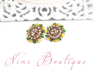 Small Royal Yellow & Green Stud earrings