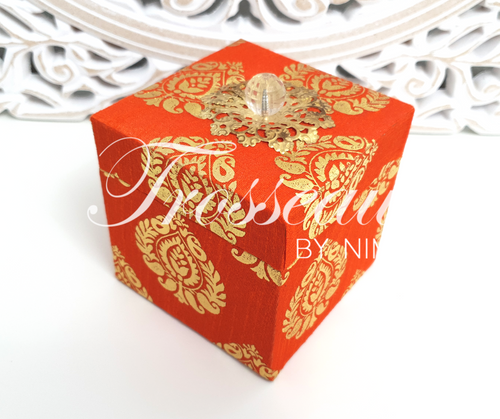 Orange Silk Brocade Favor Box