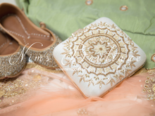 Large White Raw Silk Pearl Embellished Clutch Bag