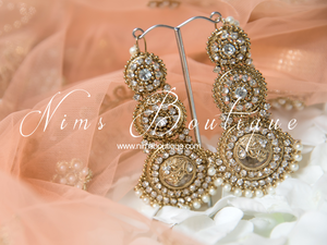 Radha Antique Gold & Pearl Earrings with Pearl Saharas