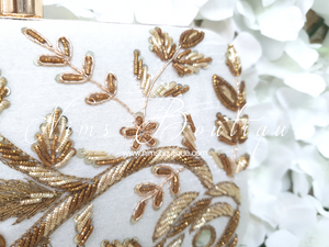 Ivory & Antique Gold Raw Silk Embellished Clutch Bag