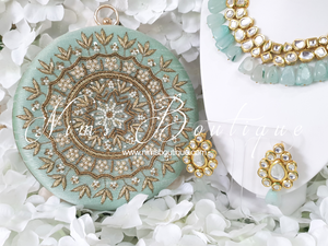 Large Round Mint Green & Pearl Clutch Bag