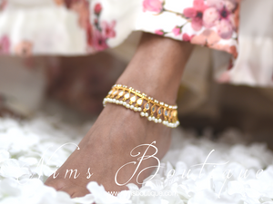 Nandini Light Gold & Pearl Anklets