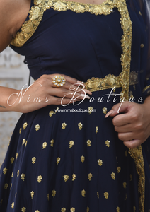 Luxury Navy Silk Anarkali with Pajami (various sizes)