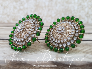 Large Royal Antique Gold & Green Stud earrings
