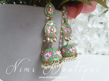Kanika Mint Green Blossom Chumke Earrings
