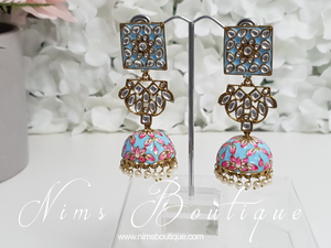 Payal Light Blue Blossom Chumke Earrings