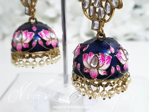 Payal Navy Blossom Chumke Earrings