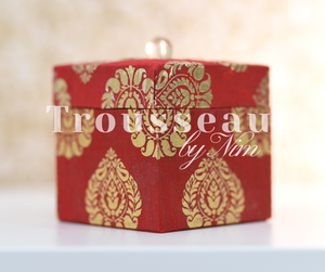 Red Silk Brocade Favor Box