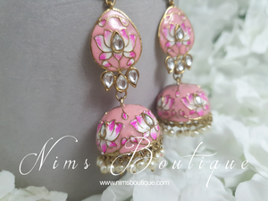 Kanika Pink Blossom Chumke Earrings