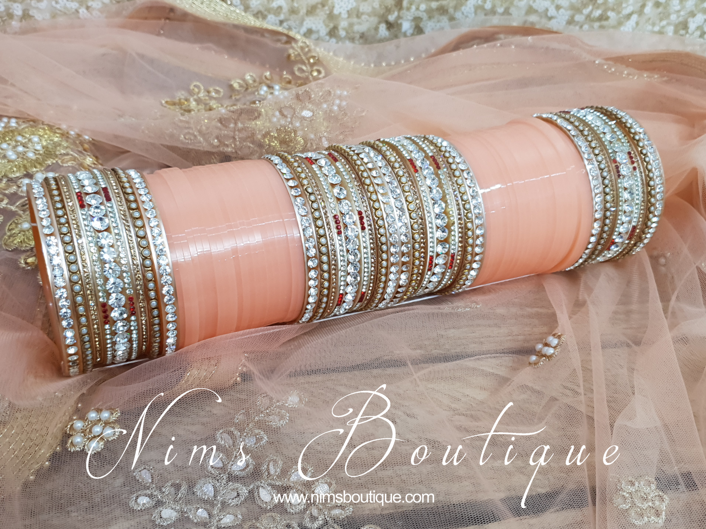 Peach Wedding Choora/ Bangles
