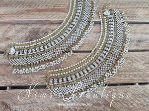 Royal Shaadi Antique Gold & Pearl Anklets (1)
